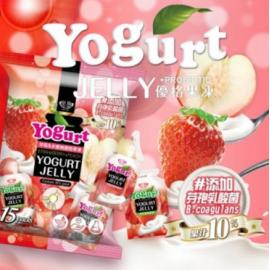 台湾皇族 天然果汁果冻 草莓&水蜜桃优格果冻混合口味 实惠装 300g