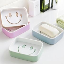 卡通笑脸双层沥水香皂盒  颜色混发