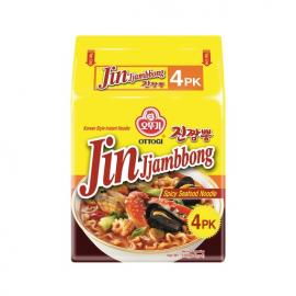 韩国热销OTTOGI JIN JJAMPONG RAMEN 不倒翁金螃蟹海鲜风味拉面 130GX4袋入