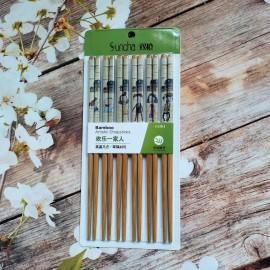 双枪竹工艺筷(欢乐一家人)6双装