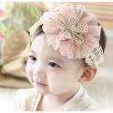韩式 婴儿童发带 蕾丝浅粉花朵