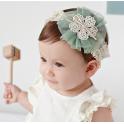 韩式 婴儿童发带 蕾丝浅湖绿花朵