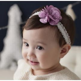 韩式 婴儿童发带 紫色小花朵
