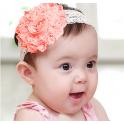 韩式 婴儿童发带 粉色花朵