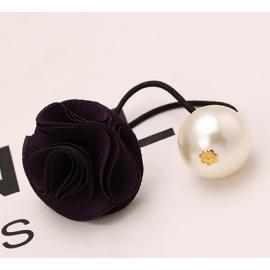 纯手工DIY  复古风玫瑰花朵大珍珠 发圈 混色