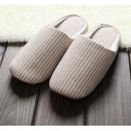 良品水洗条纹 居家软底米色拖鞋 两双装 适合35-38码
