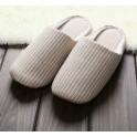 无印棉麻可水洗条纹良品 居家软底米色拖鞋 适合35-38码