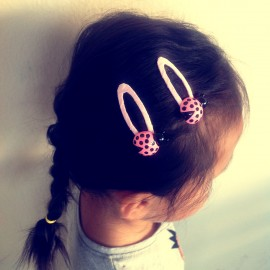 儿童发饰品DIY  可爱刘海BB夹 粉色小瓢虫发卡