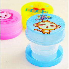 可爱卡通折叠杯 旅行便携式塑料水杯  小猴