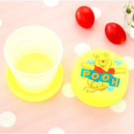 可爱卡通折叠杯 旅行便携式塑料水杯 小熊