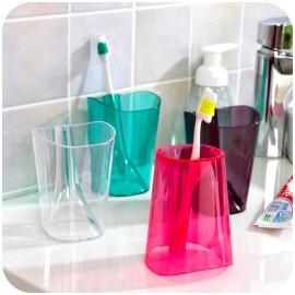 生活居家 方形翻身变牙刷架杯子 刷牙杯 蓝色
