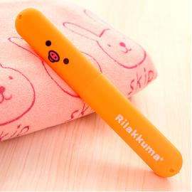 旅行必备 卡通轻松熊便携牙刷套盒 桔黄猪