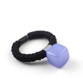 糖果色粗绳果冻方块发圈 丸子头盘发饰品 浅蓝款