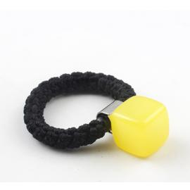 糖果色粗绳果冻方块发圈 丸子头盘发饰品 明黄色