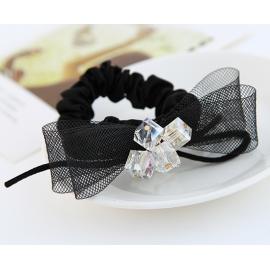 黑色网纱蝴蝶结发饰 水晶珠发绳
