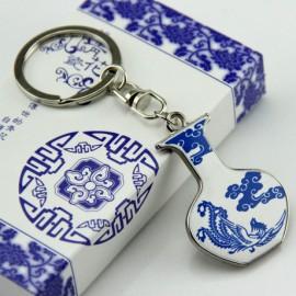 中国风小礼品  青花瓷钥匙扣  凤凰飞天