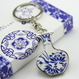 中国风小礼品  青花瓷钥匙扣  荷花争艳