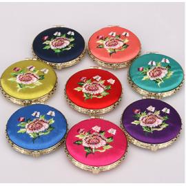 复古中国风小礼品  绣花双面化妆镜  圆形  颜色混发
