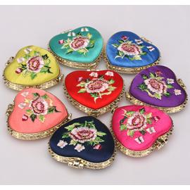 复古中国风小礼品 绣花双面化妆镜 心形 颜色混发