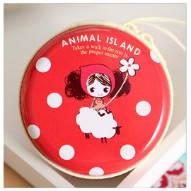 可爱女孩卡通马口铁零钱包  红色绵羊