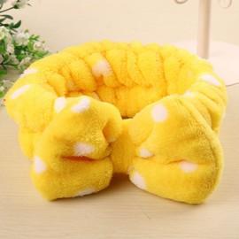 可爱小清新蝴蝶结  法兰绒束发带  黄色白点