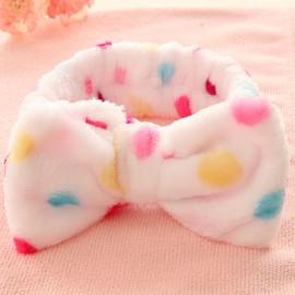 可爱小清新蝴蝶结  法兰绒束发带  白底彩点