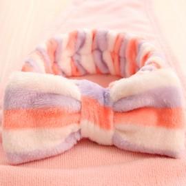 可爱小清新蝴蝶结  法兰绒束发带  紫粉白条纹