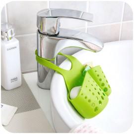创意居家 可调节按扣式水槽收纳沥水挂篮 绿色粉色天蓝色混发