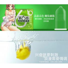 第六感  天然胶乳橡胶避孕套  螺纹柠檬香 12只