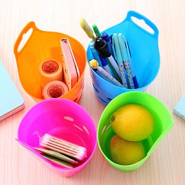 可爱笑脸 多用壁挂式收纳篮  塑料杂物储物篮 颜色混发