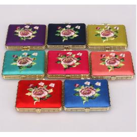 复古中国风小礼品  绣花双面化妆镜  长方形  颜色混发