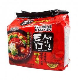 韩国原产热销PALDO海地村  八道极地麻辣汤面5连包(120G*5)