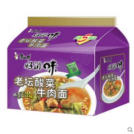 康师傅好滋味  老坛酸菜牛肉五连包  5*99G